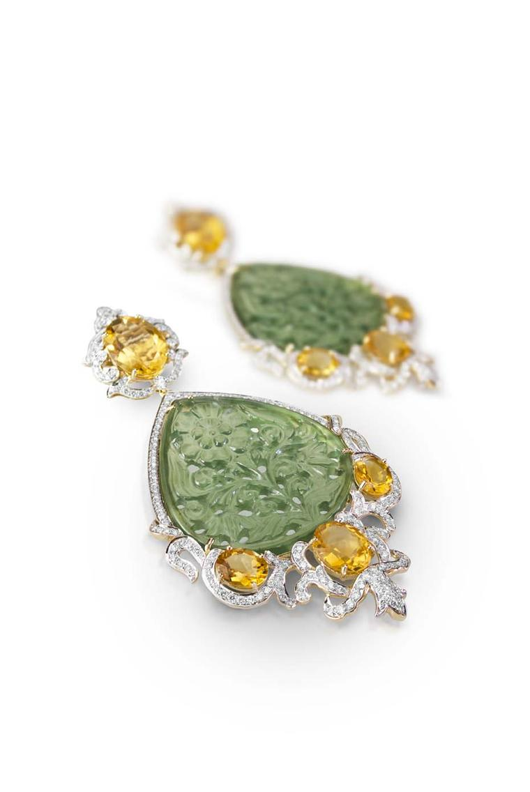 Farah Khan earrings featuring carved serpentine and citrines.