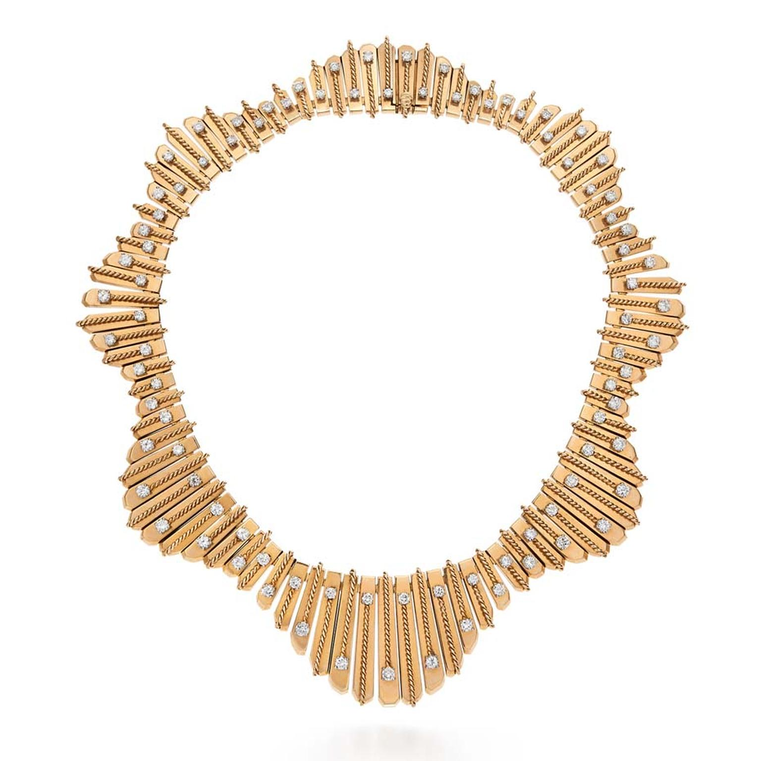 1950s Cartier Paris Undulating Fringe diamond necklace in gold, available from Fred Leighton at 1stdibs.com ($145,000).