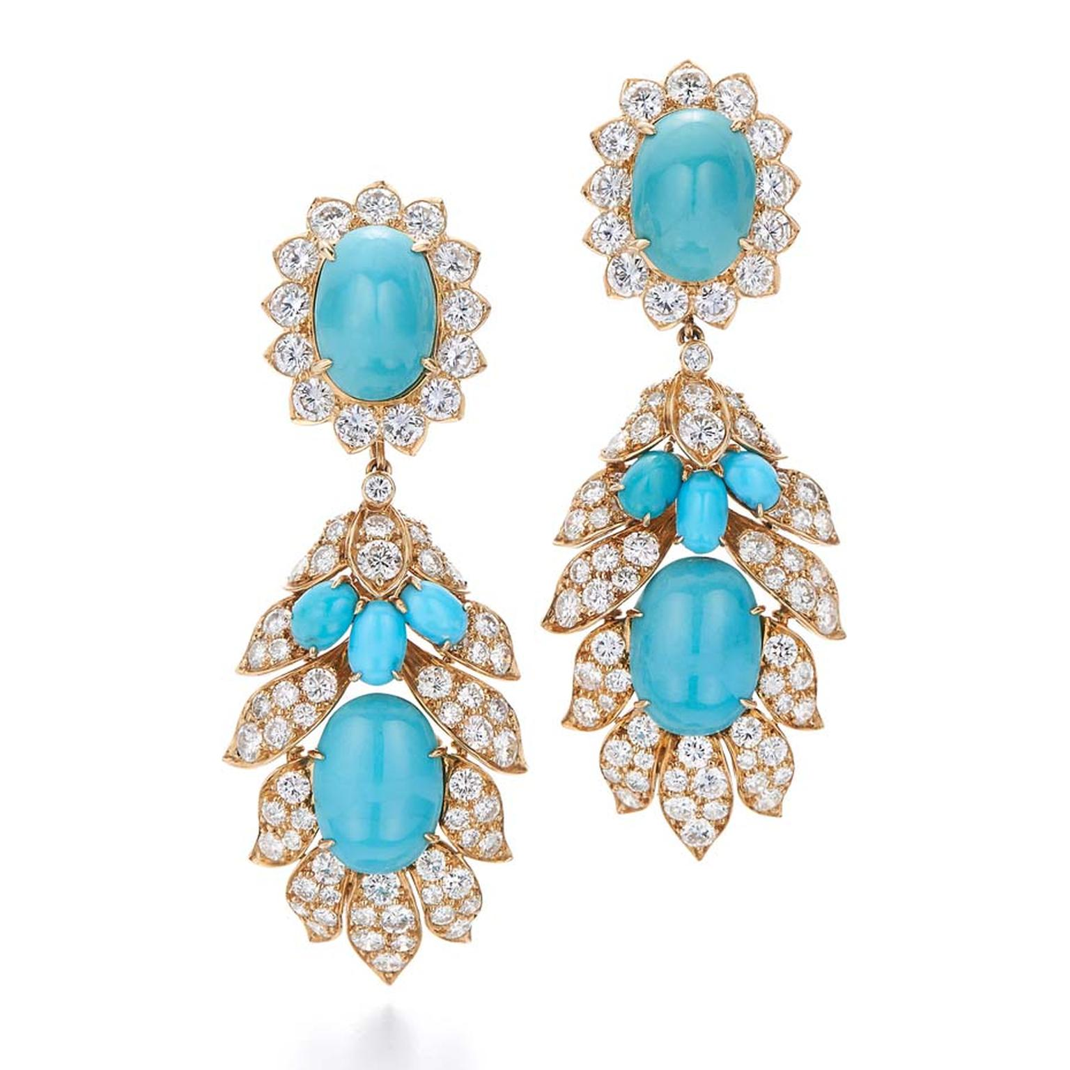 1960s Van Cleef & Arpels diamond and turquoise Day to Night earrings, available from Fred Leighton at 1stdibs.com ($125,000).
