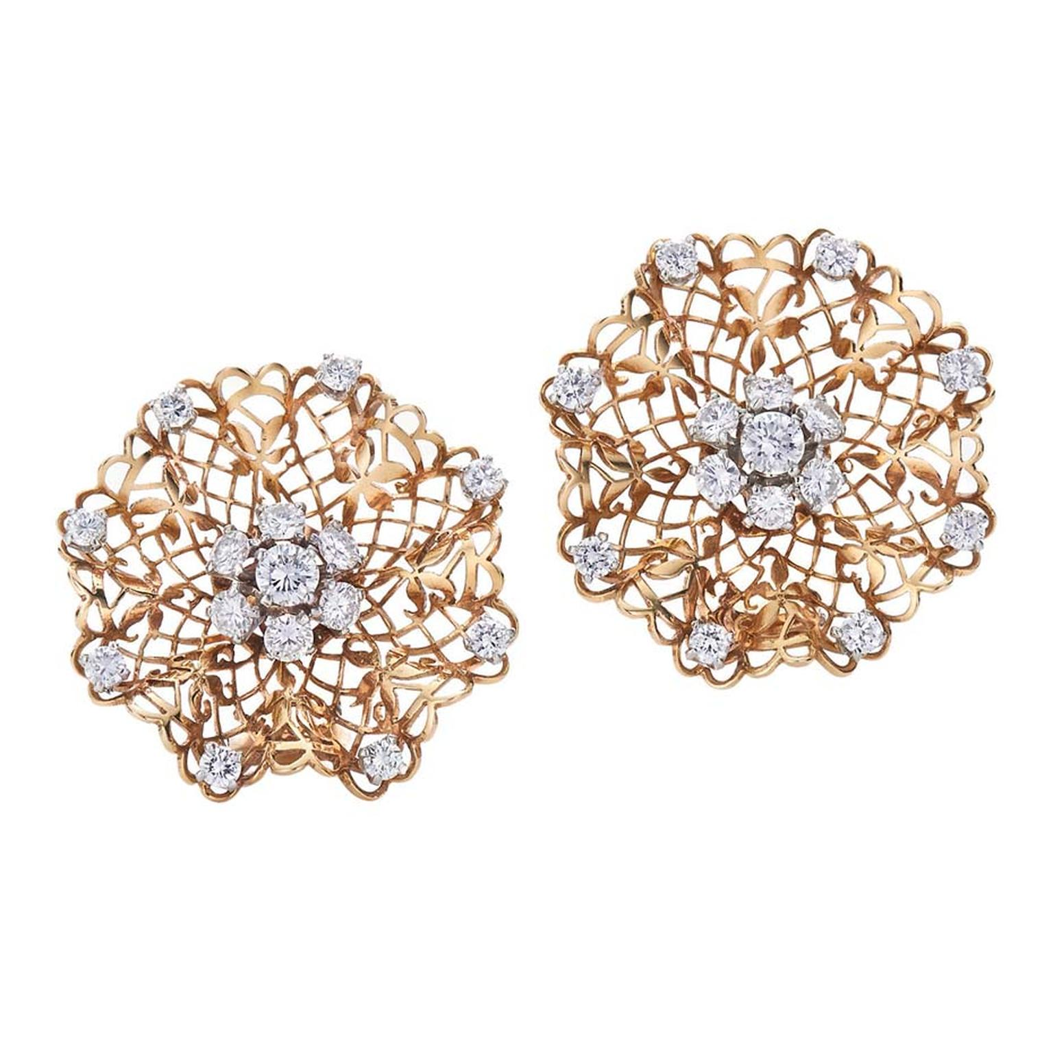 Van Cleef & Arpels yellow gold and diamond Handkerchief Earrings, available from Fred Leighton at 1stdibs.com ($30,000).