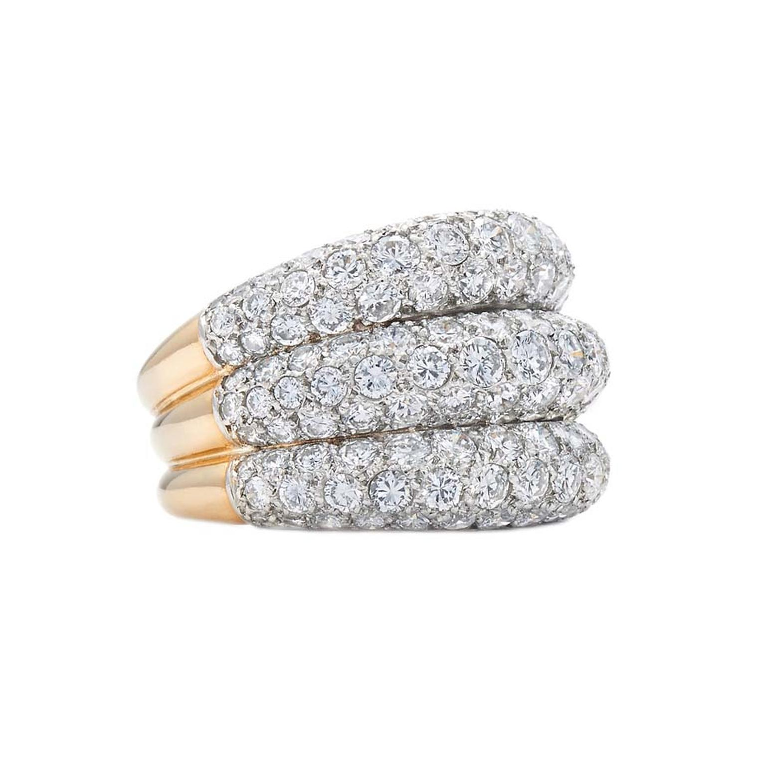 Cartier Triple Row pavé diamond ring, available from Fred Leighton at 1stdibs.com ($55,000).