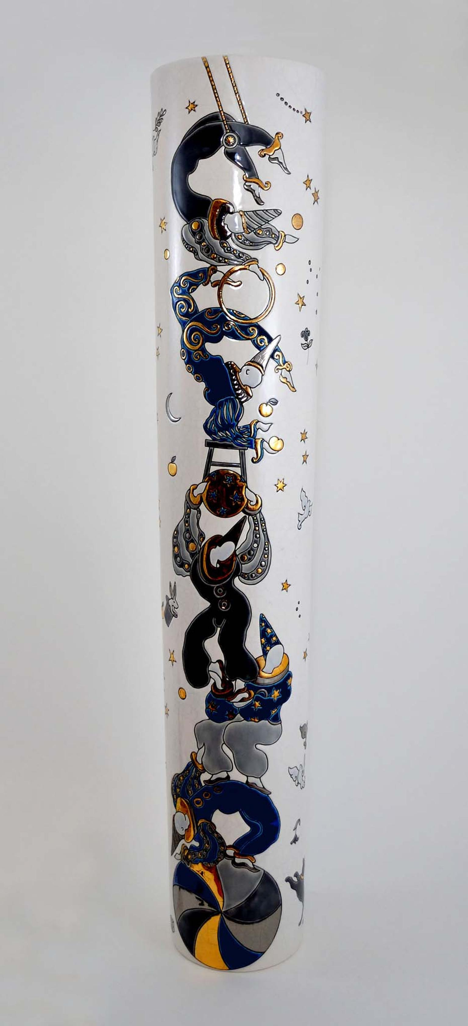 Jean Boggio Acrobates earthenware and enamel vases with platinum and gold come in a limited edition of 100, all signed and numbered.