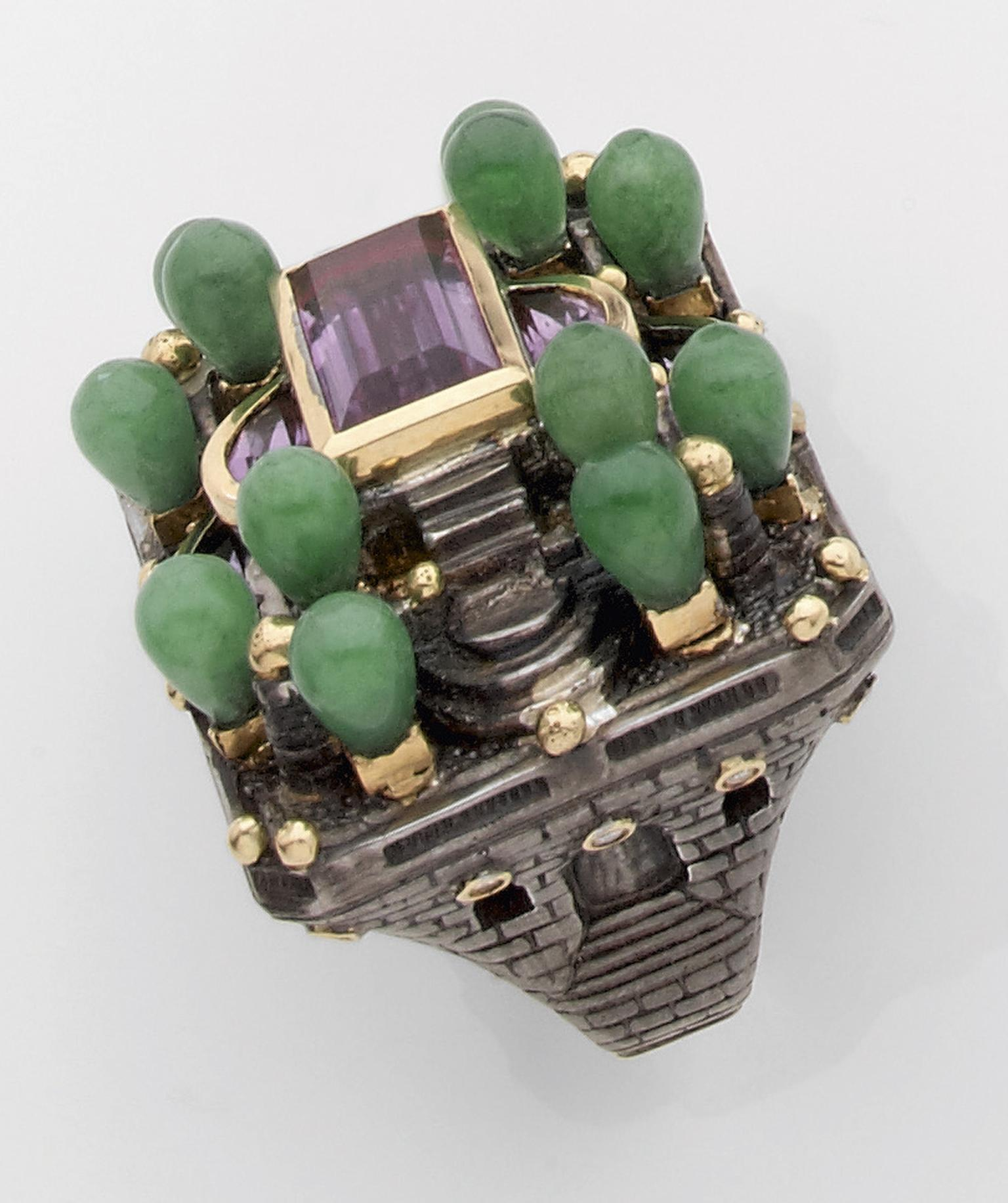 Jean Boggio Le Verger des Délices ring in yellow gold and silver with amethyst, jade and diamonds.