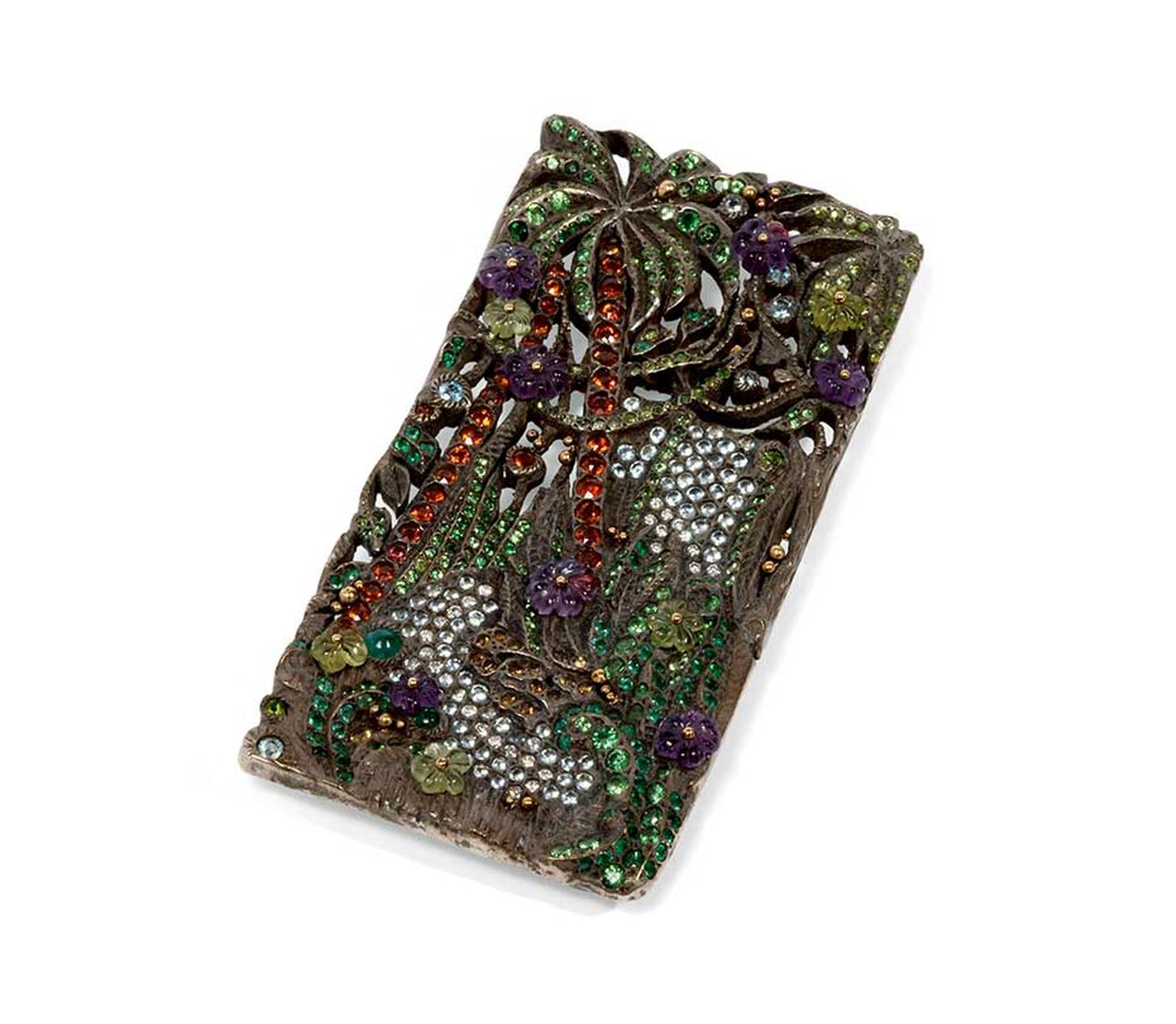 Jean Boggio Jungle River brooch/pendant in gold and silver with amethyst, aquamarine, emerald, garnet, tsavorite and blue topaz.