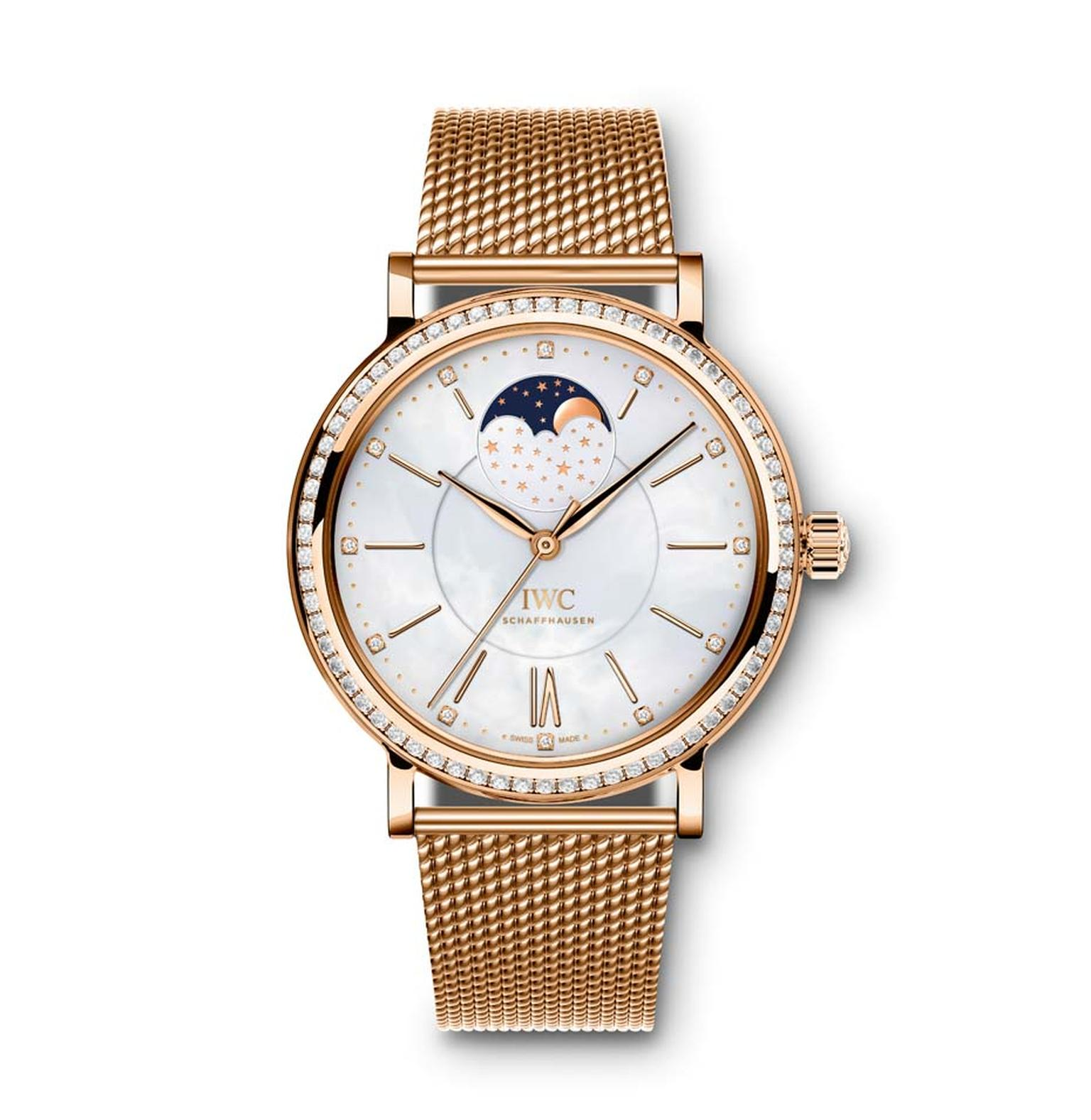 IWC's Portofino Midsize Automatic Moon Phase Ref. IW459005 watch features a red gold case set with 66 diamonds, a white mother-of-pearl dial set with 12 diamonds and a Milanese red gold mesh bracelet.