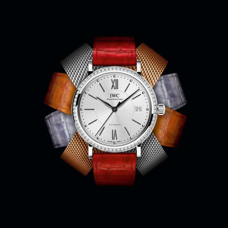 The Portofino Midsize watches from IWC Schaffhausen are fitted with leather straps made by Italian shoemaker Santoni or Milanese mesh bracelets in stainless steel or red gold.