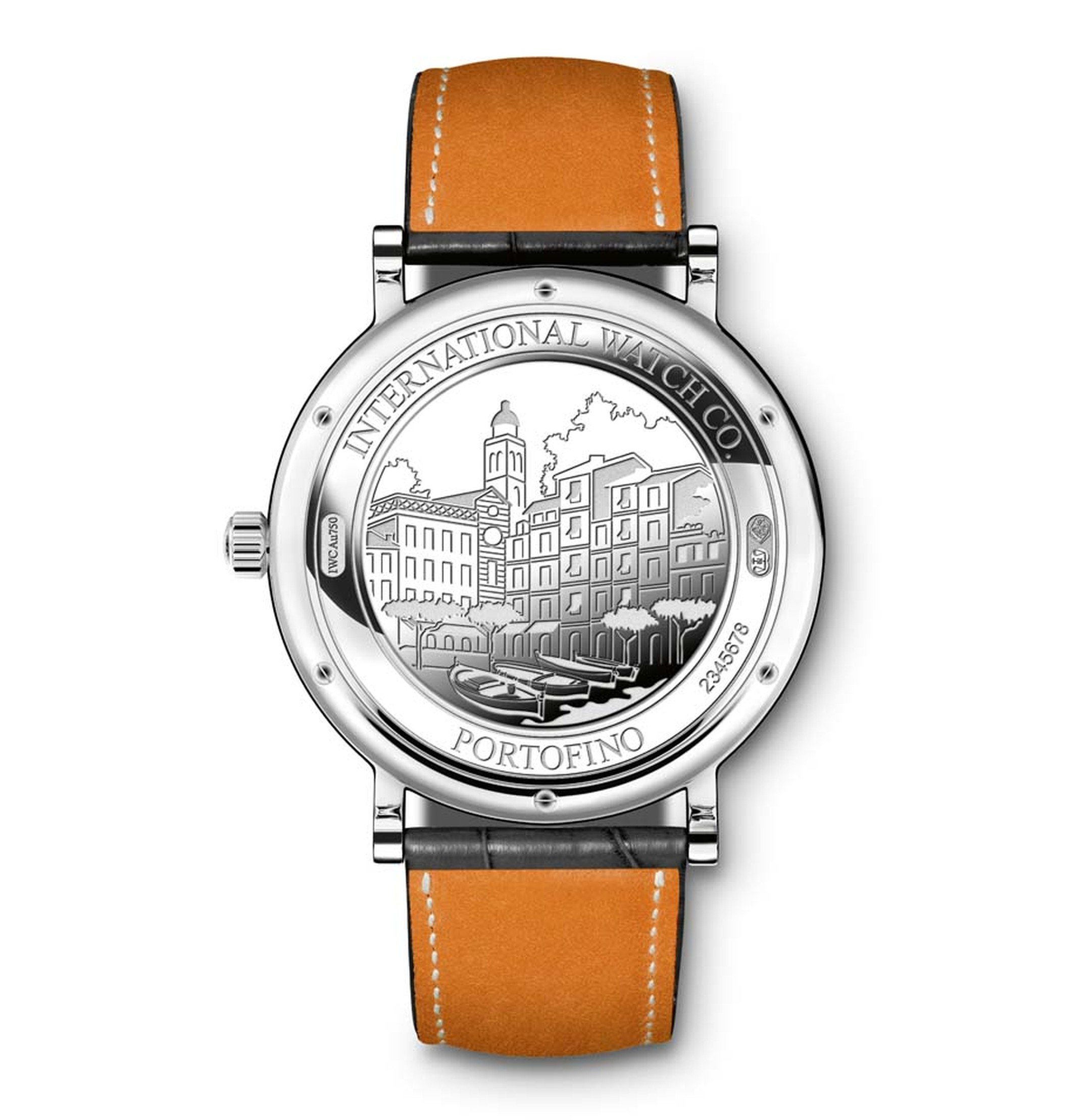 The case of each IWC Portofino watch is decorated on the back with an engraving of Portofino harbour.