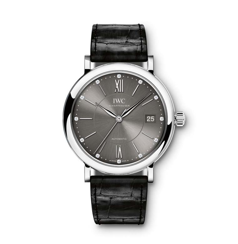 IWC Schaffhausen's Portofino Midsize Automatic Ref. IW458102 watch features a stainless steel case, slate-coloured dial set with 12 diamonds and a black alligator leather strap with a stainless steel pin buckle.