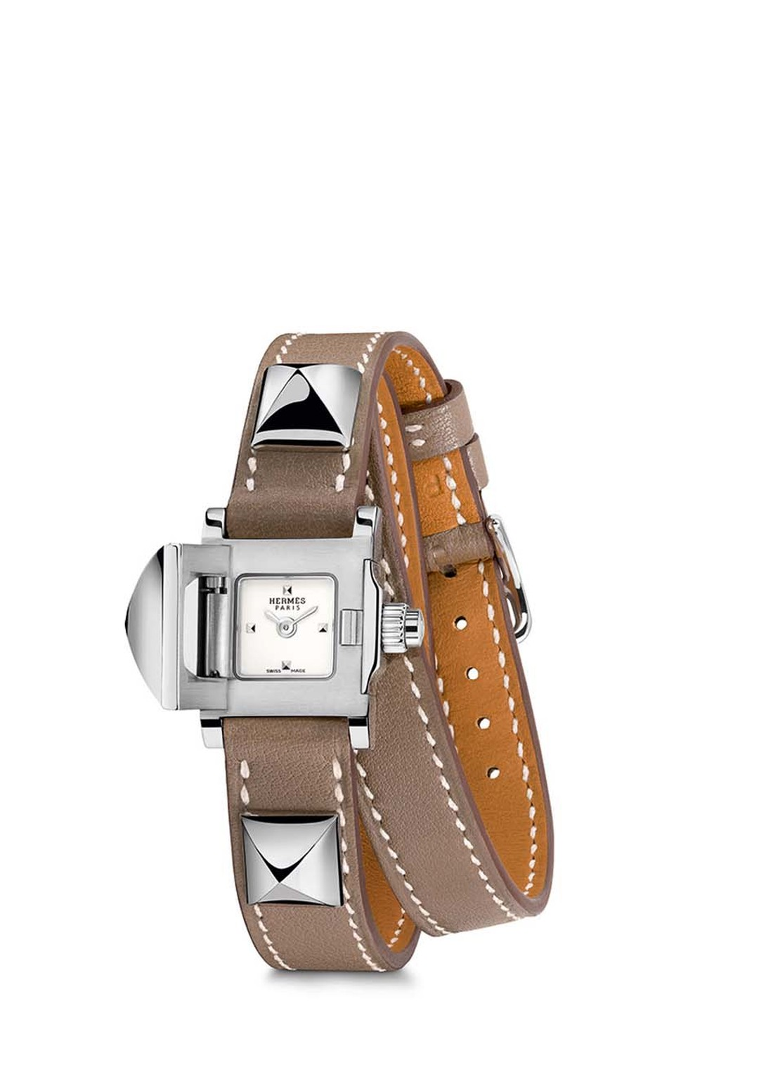 Hermès Médor watch in stainless steel watch with a smooth etoupe calfskin double strap.