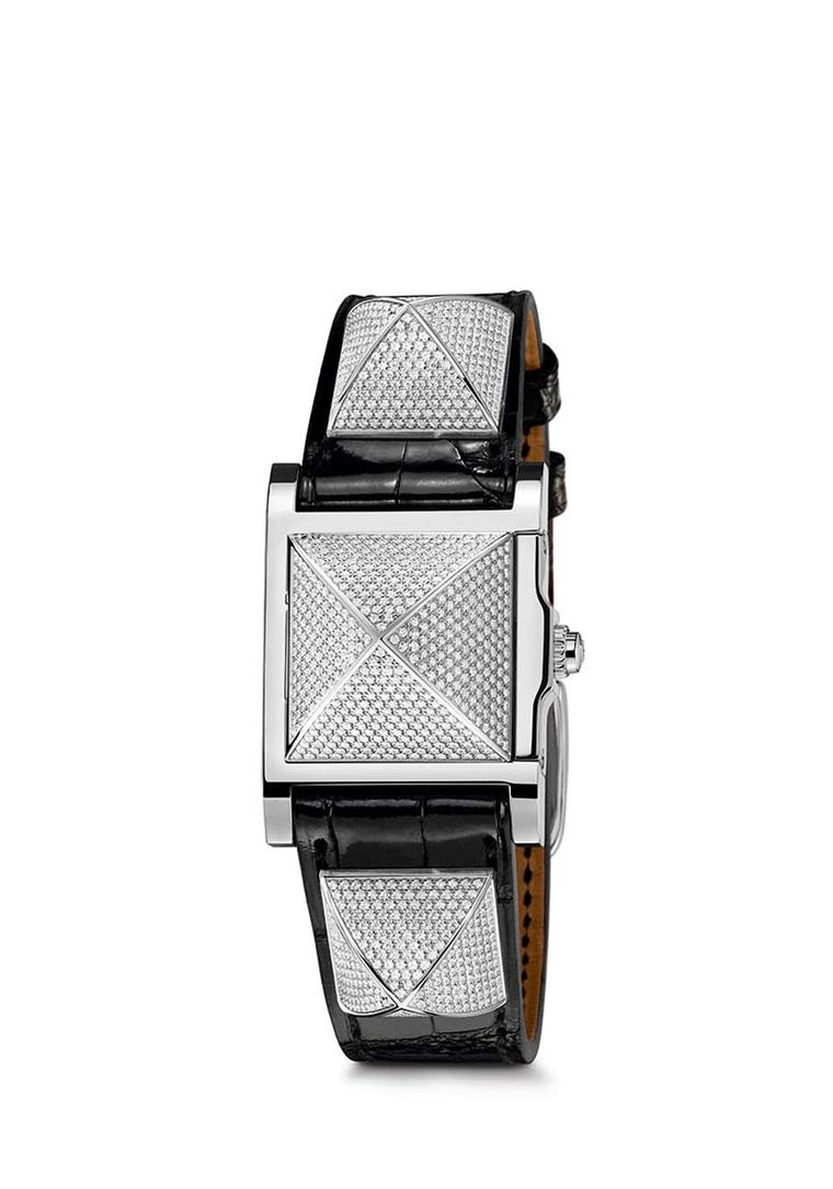 The new Hermès Médor collection, available in two sizes, Mini and PM, with rose gold or stainless steel studs, is the closest thing to genteel punk in the watch world. Pictured here is the PM version with a smooth black alligator strap and stainless steel