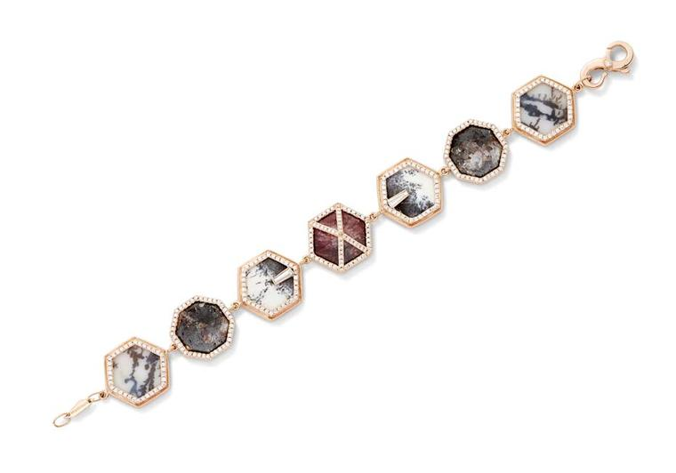 Monique Péan's one-of-a-kind bracelet from the Seto collection features a central textured eudialyte stone surrounded by dendritic opal, violane and dendritic agate set in gold and diamond hexagons.