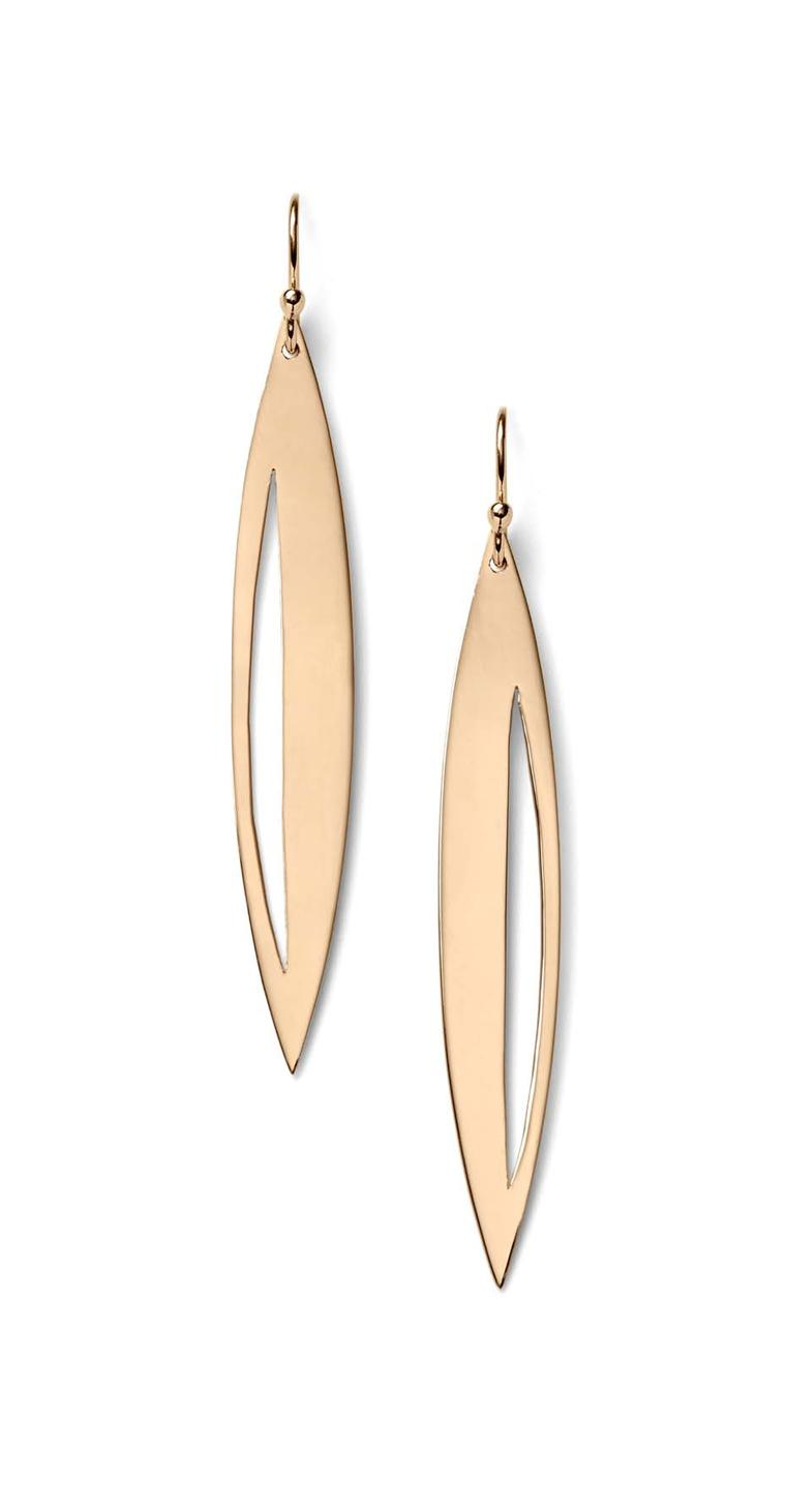 Monique Péan Navette earrings in gold, from the Seto collection.