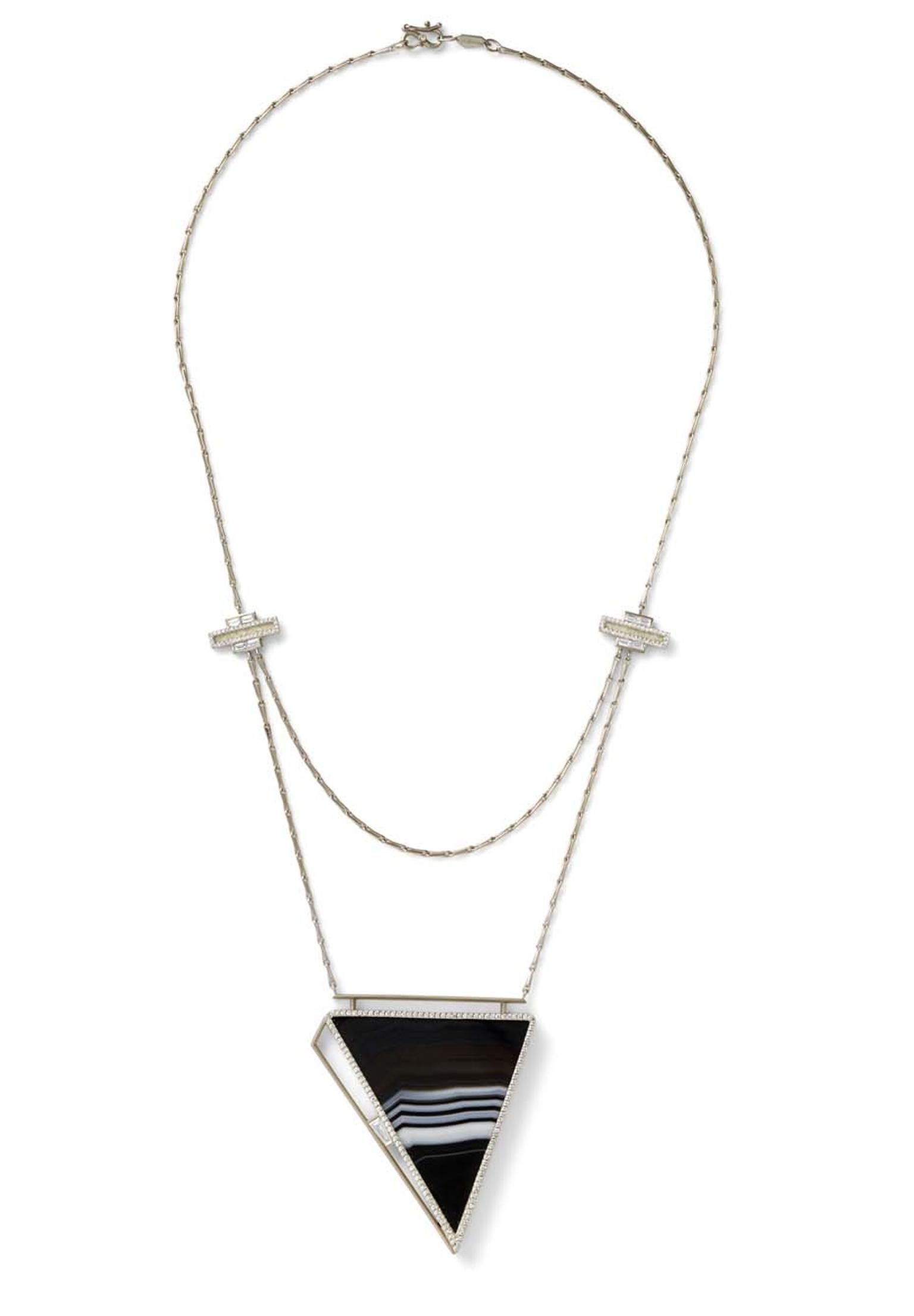 Monique Péan one-of-a-kind Seto necklace with a triangle of fossilised walrus ivory and black striped agate surrounded by pavé diamonds and one baguette diamond. The double looped chain is highlighted with baguette and pavé diamonds at either side.