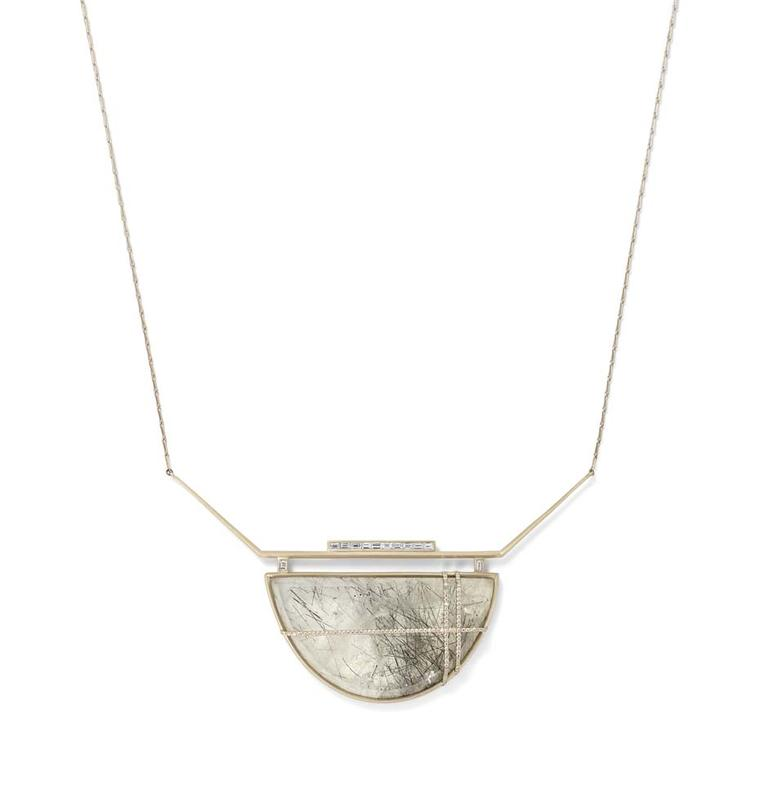 Monique Péan Seto collection necklace with baguette and pavé diamonds aligned around a central rutile stone.