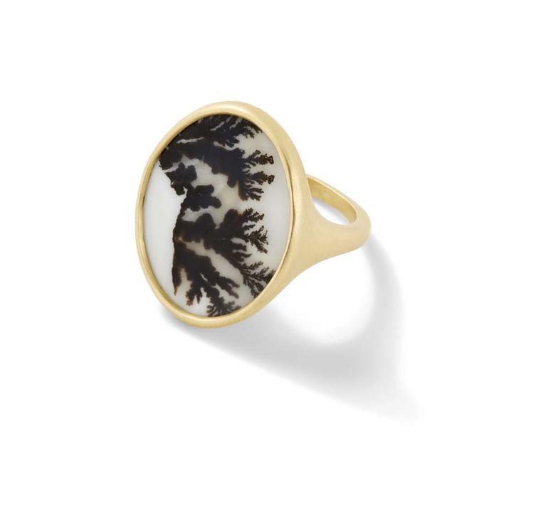 Monique Péan ring from the new Seto collection set with dendritic agate in recycled yellow gold.