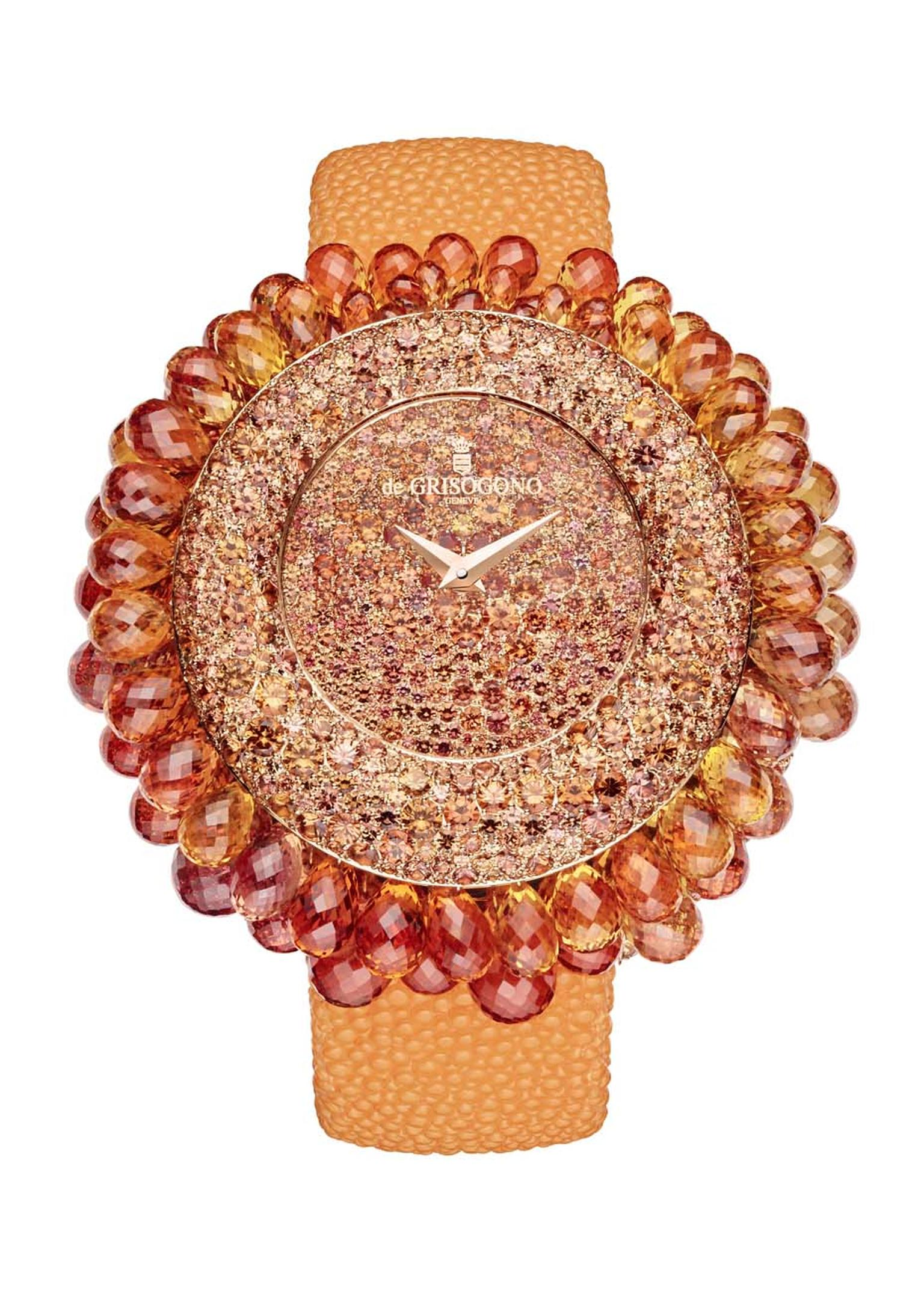 de GRISOGONO's Grappoli watch is the fruit of expert gem-setters and stone cutters. A total of 120 hours is spent on each de GRISOGONO Grappoli masterpiece.