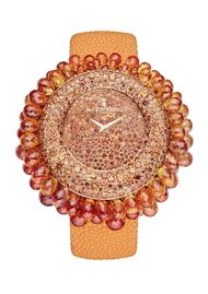 de GRISOGONO watches: a burst of gemstone sunshine with the new orange sapphire Grappoli watch