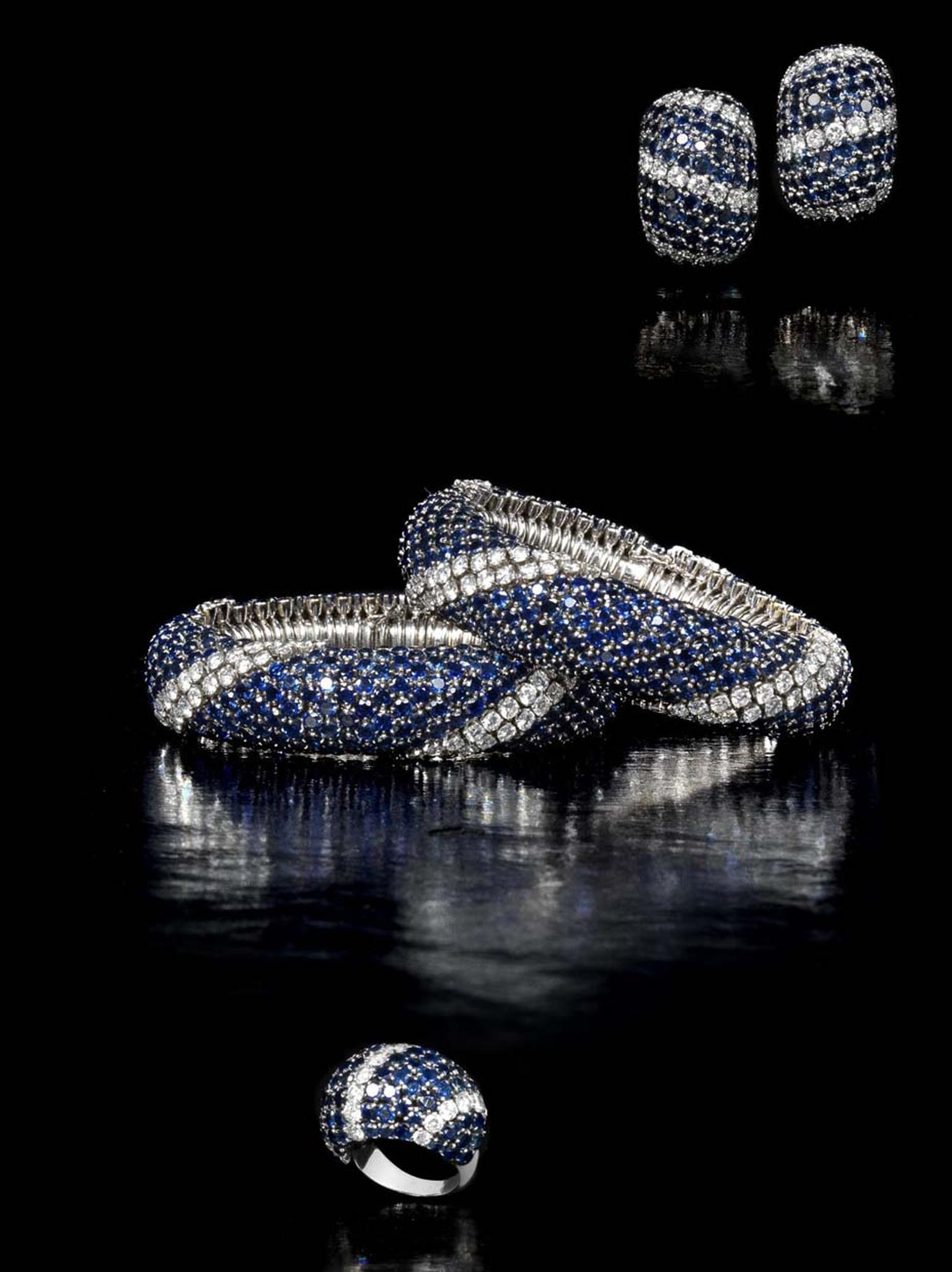 "A Van Cleef & Arpels sapphire and diamond ""lawn"" suite, comprising a choker and bracelet sold during the Bonhams sale for £146,500."