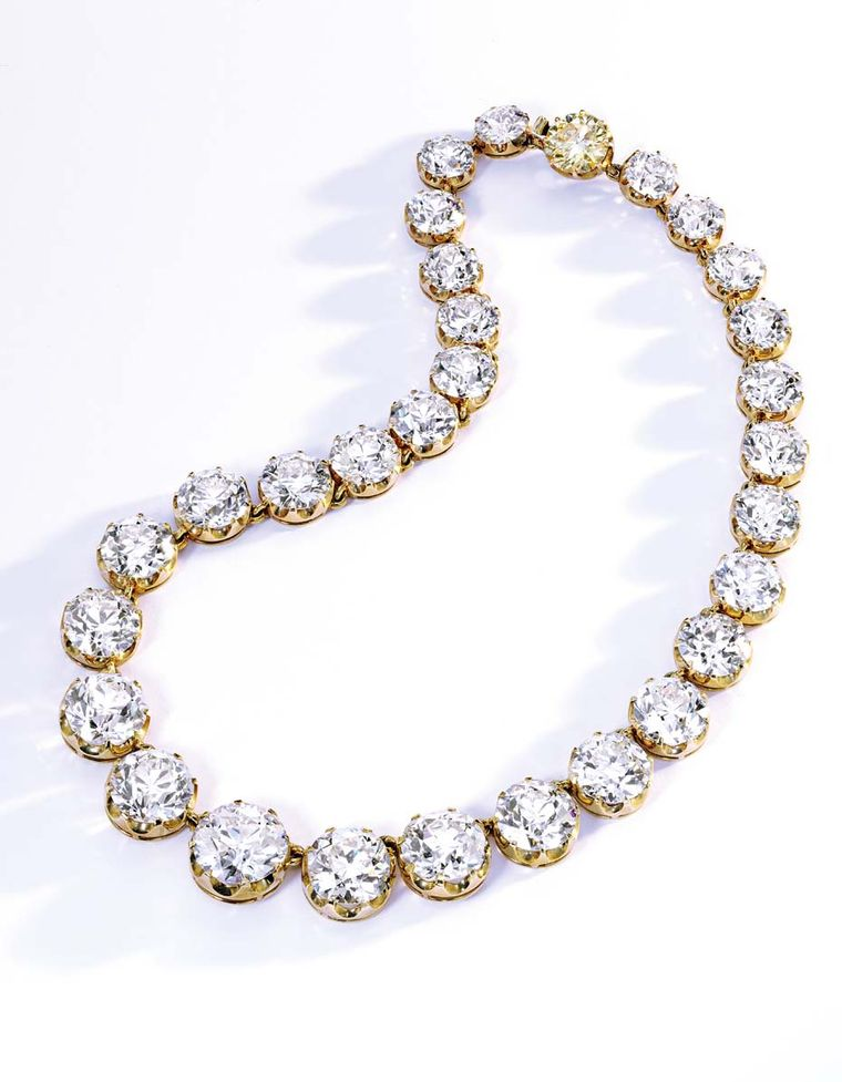 Sotheby's auction of Bunny Mellon's jewels this November in New York includes a Cartier Rivière necklace dating back to around 1900 featuring a tapered line of 29 old European-cut diamonds held together with a 4.20ct Fancy Deep Yellow diamond clasp (estim