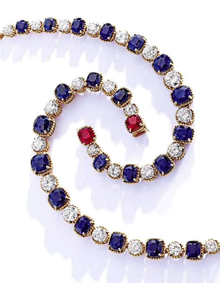 A pair of diamond, sapphire and ruby bracelets from Bunny Mellon's jewelry collection (estimate: $150,000-200,000 each).