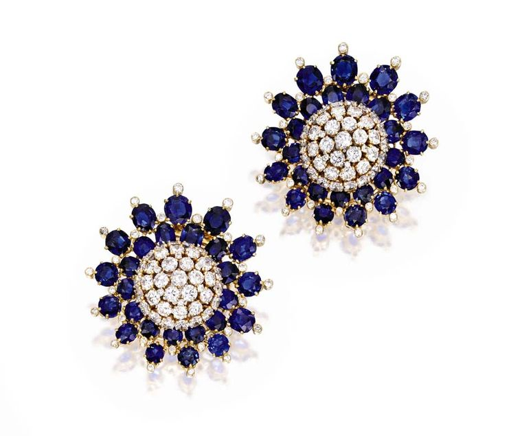 A pair of Van Cleef & Arpels brooches will also go under the hammer at the Bunny Mellon jewelry sale this November at Sotheby's New York. Shaped like two flower heads, the brooches are each set with 20ct of sapphires encircling a sparkling diamond corolla