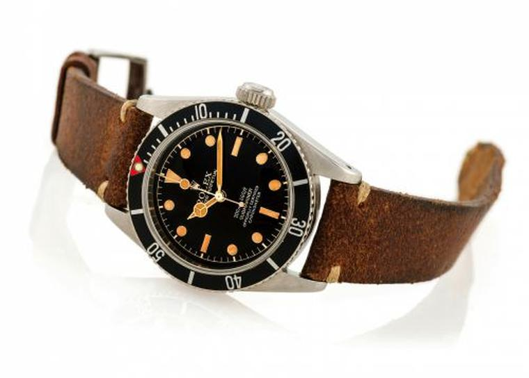 Rolex Submariner watch ref. 6538 featuring a Gilt Tropical Spider dial, which became known as the James Bond Submariner.
