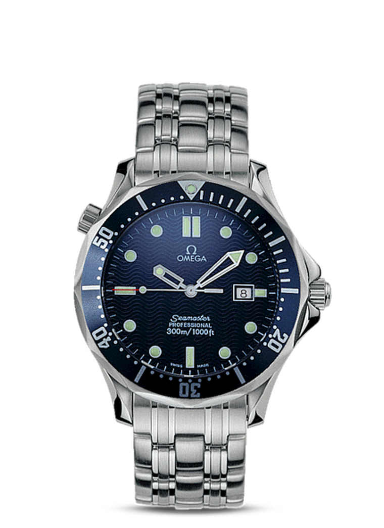 The Omega Seamaster 300m quartz watch that was first seen on Pierce Brosnan as 007 in GoldenEye.