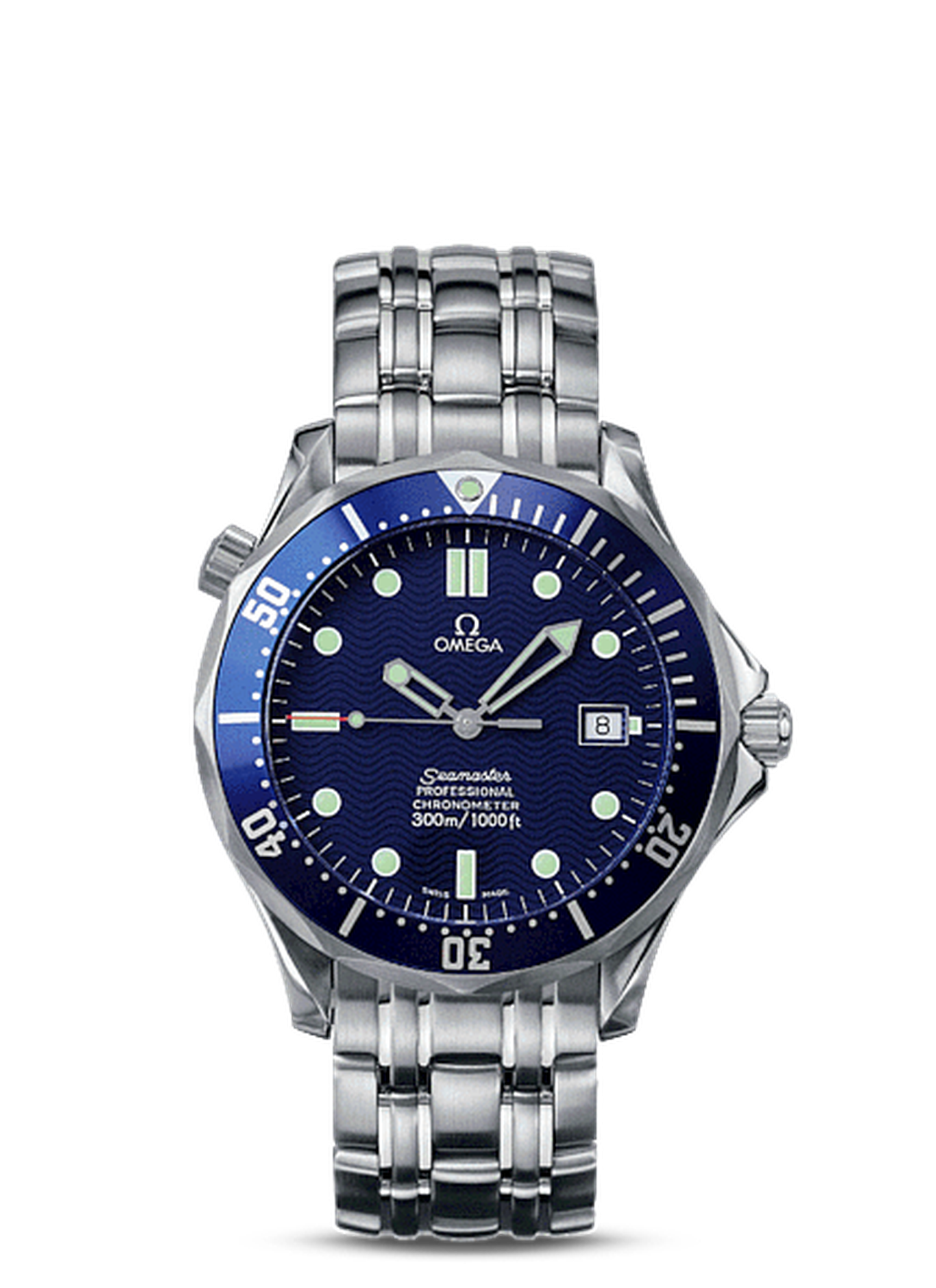 The Omega Seamaster 300m chronometer watch as seen on 007 in Tomorrow Never Dies.