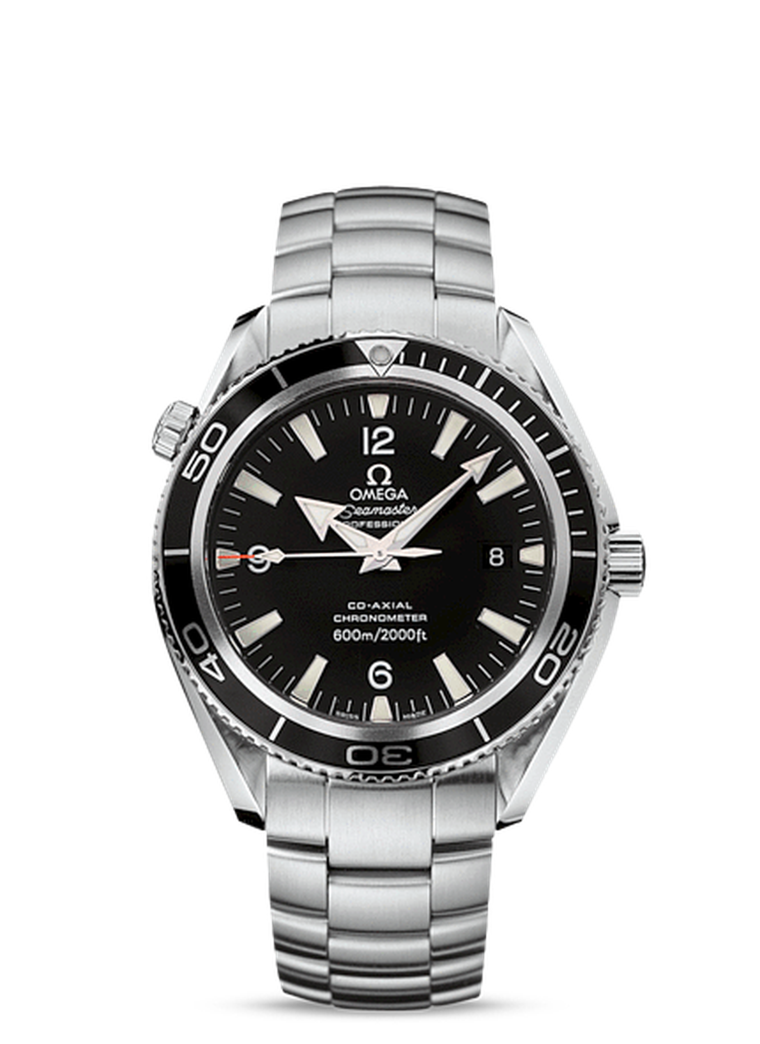 Like 007's watch in Quantum of Solace, the Omega Seamaster Planet Ocean 600m watch features a sturdy 45.5 mm Co-Axial chronometer movement.