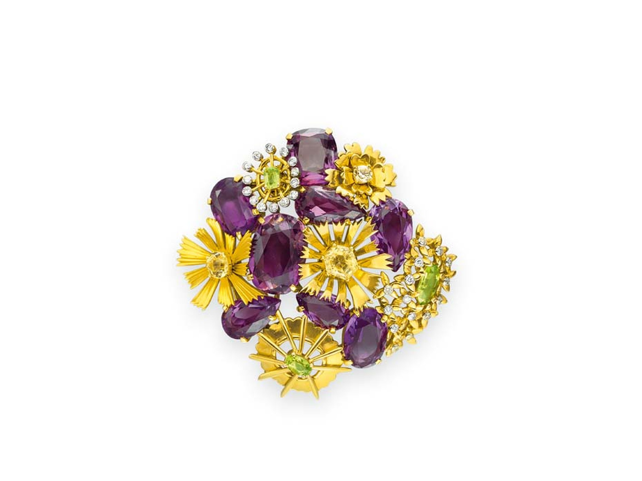 Jean Schlumberger's Daisy brooch from 1950 with yellow and white diamonds and amethysts © Christie's Images Limited.