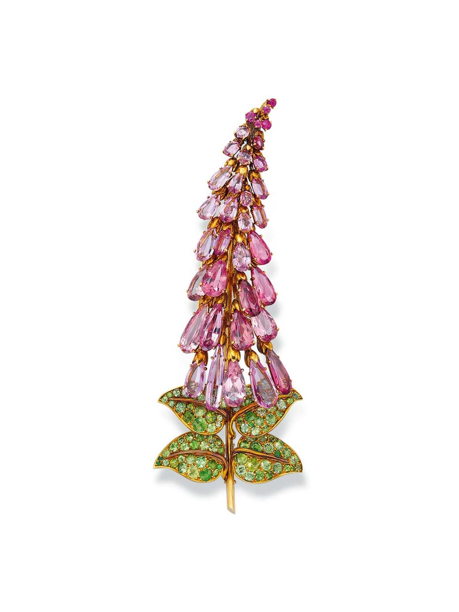 Boivin Foxglove brooch from 1944 with tourmalines and emeralds © Christie's Images Limited.