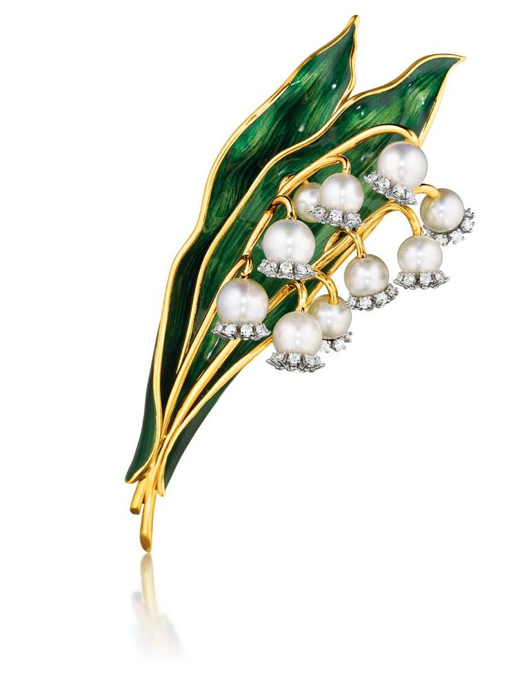 Verdura's 1956 Lily of the Valley brooch with pearls and diamonds © Verdura.