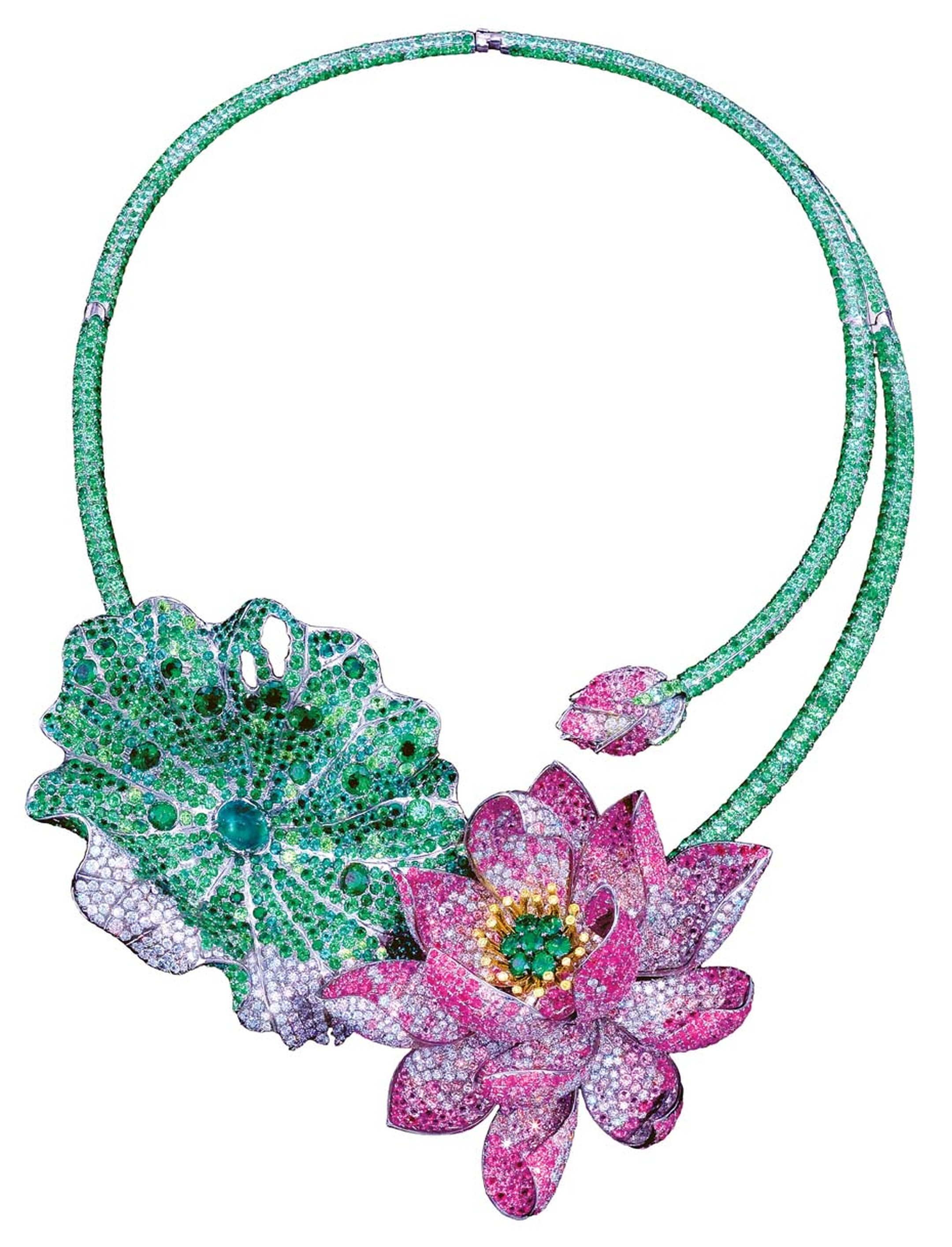 Anna Hu's Art Nouveau-style Celestial Lotus necklace features natural Fancy Intense vivid yellow, grey and white diamonds, natural Burmese rubies, Colombian emeralds, demantoid garnets, tsavorites, and multi-coloured pink sapphires, set in titanium.
