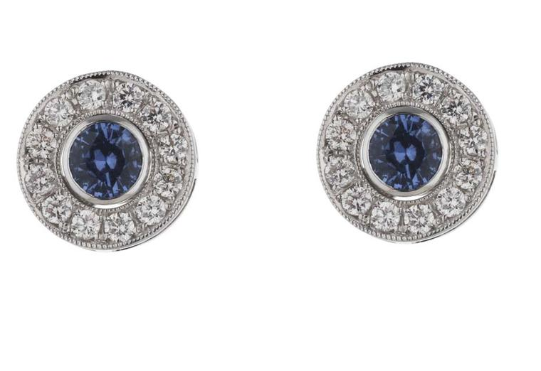 Holts London interchangeable Regent earrings with sapphire stud centres surrounded by removable diamond circles (£4,495).