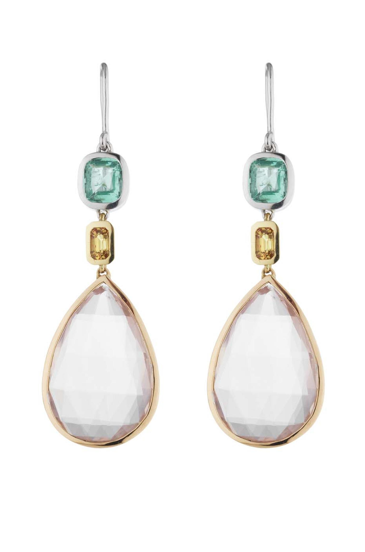 Holts London jewellery collection Sloane earrings with chalcedony drops set in mixed metal with a cushion-cut emerald and yellow sapphires (£3,400).