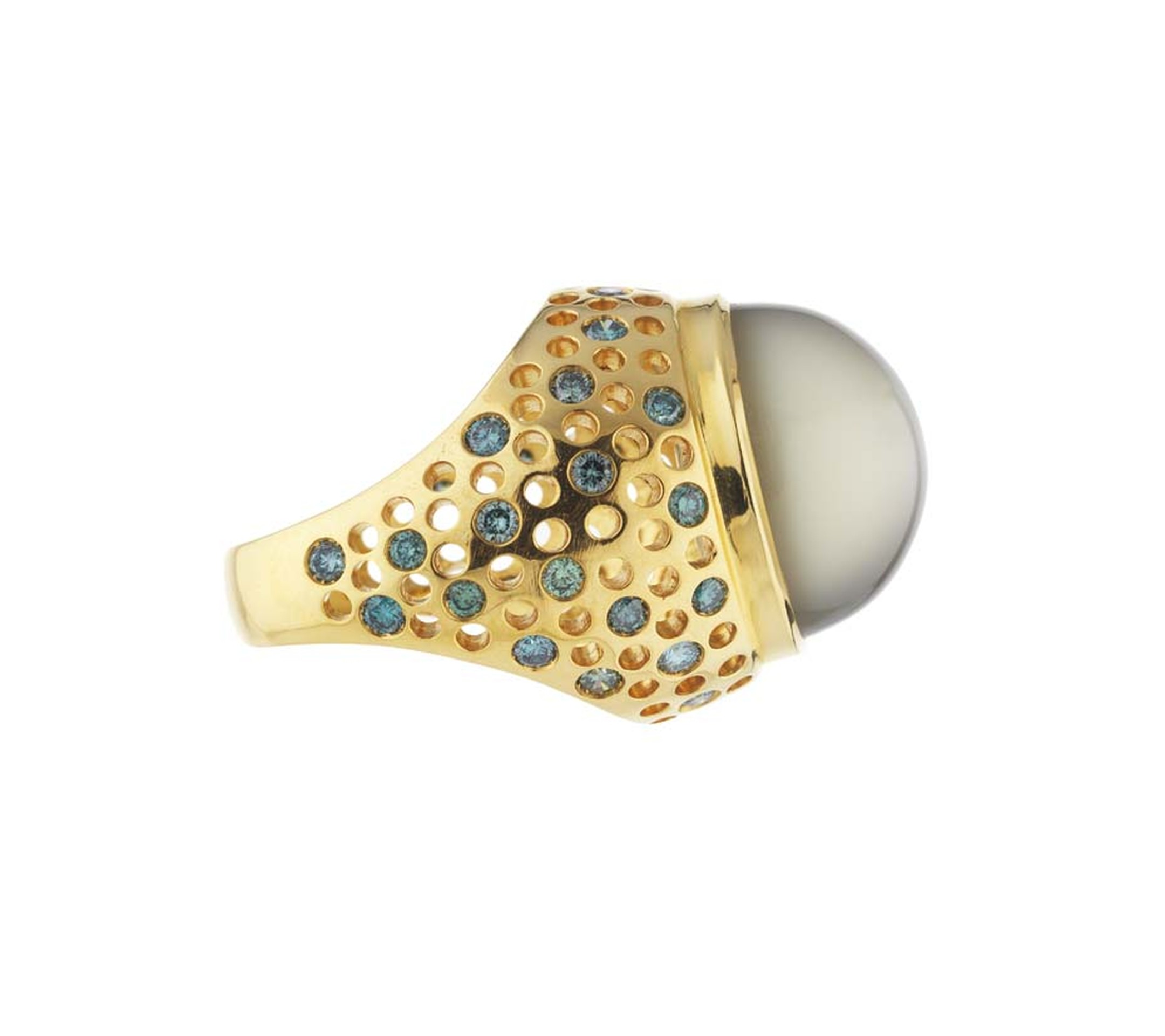 Holts London Vicious ring set with a large moonstone at its centre encircled by a thick gold band studded with bright blue and green diamonds (£4,580).