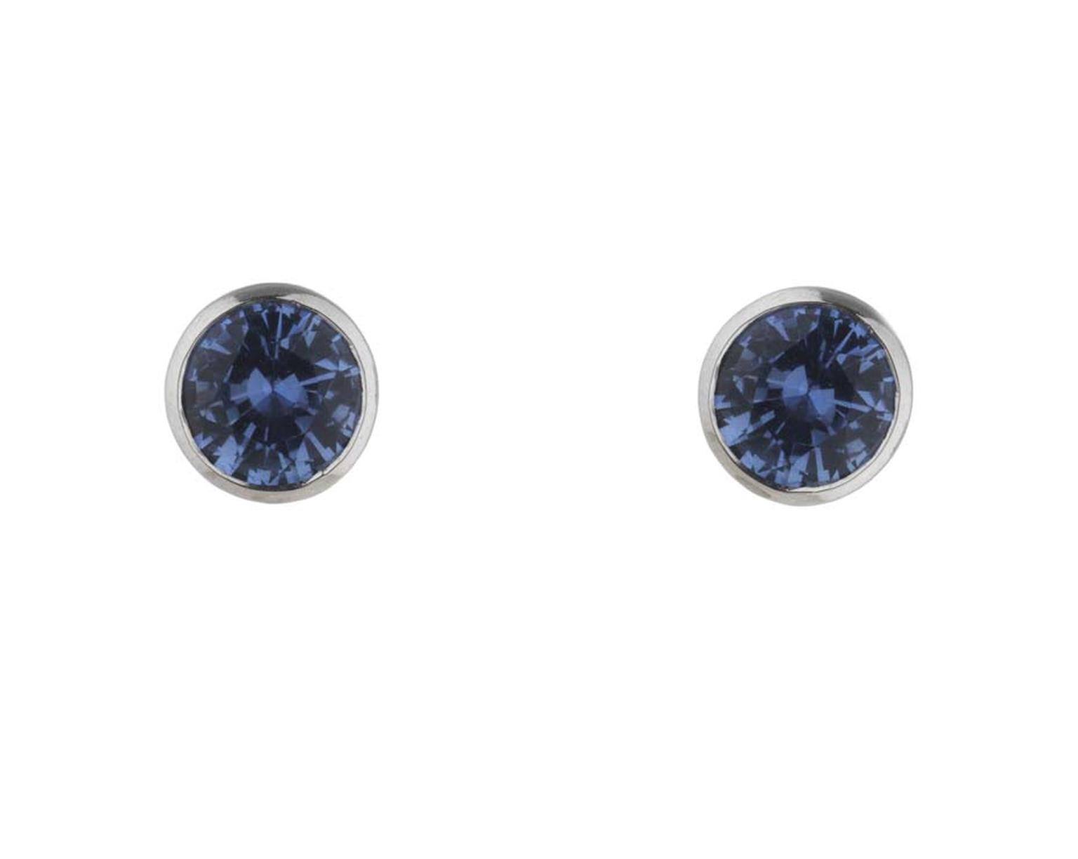 Holts London jewellery collection interchangeable Regent earrings with sapphire stud centres that can also include surrounding diamonds and rutilated quartz drops.