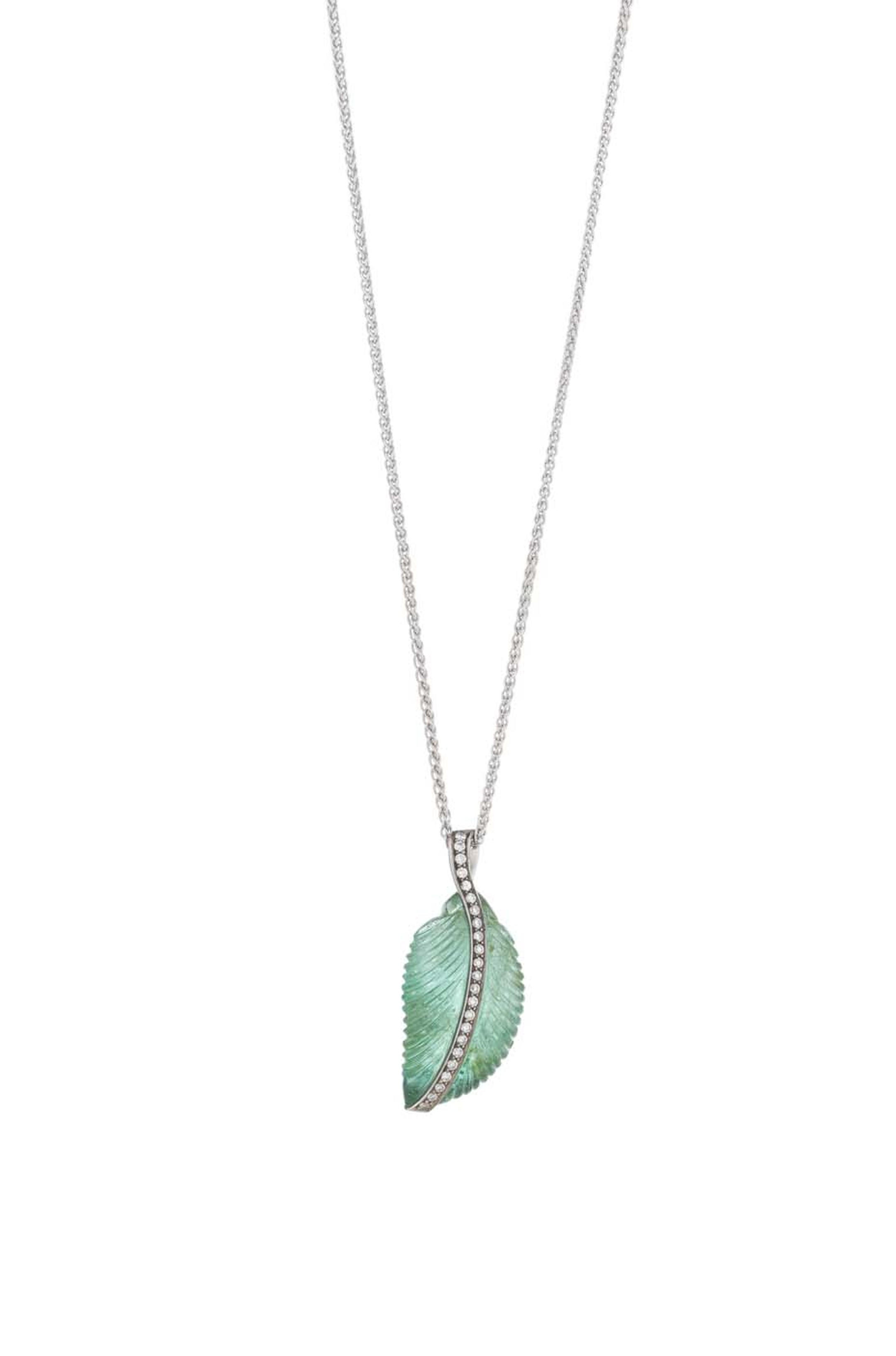 Holts London Park Life pendant featuring a carved emerald leaf set in white gold with brilliant-cut diamonds making their way through the vein of the leaf (£3,250).