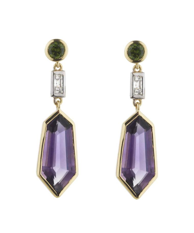 Holts London Eltham earrings with amethyst drops set in mixed metal with green demantoid garnet studs (£3,340).