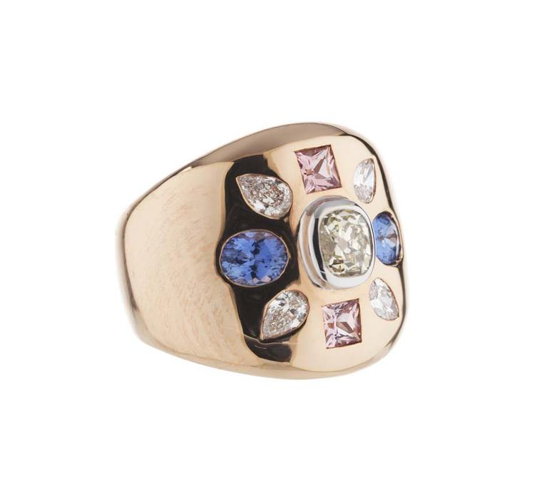 Holts London rose gold Empire ring set with diamonds and pink and blue sapphires (£4,750).