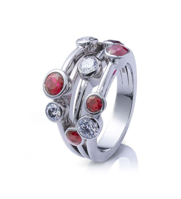 Boodles Raindance Classic ruby ring with three bands set with brilliant-cut rubies and diamonds in platinum.