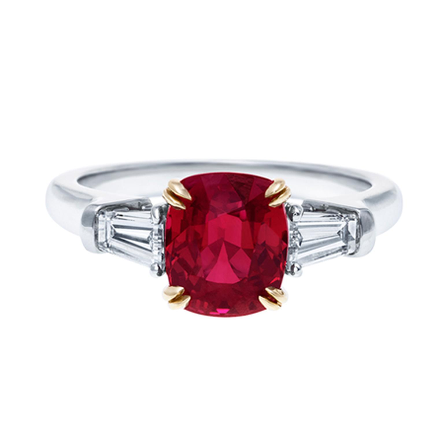 Harry Winston Classic Winston cushion-cut ruby engagement ring with tapered baguette diamond side stones set in platinum and a yellow gold setting.