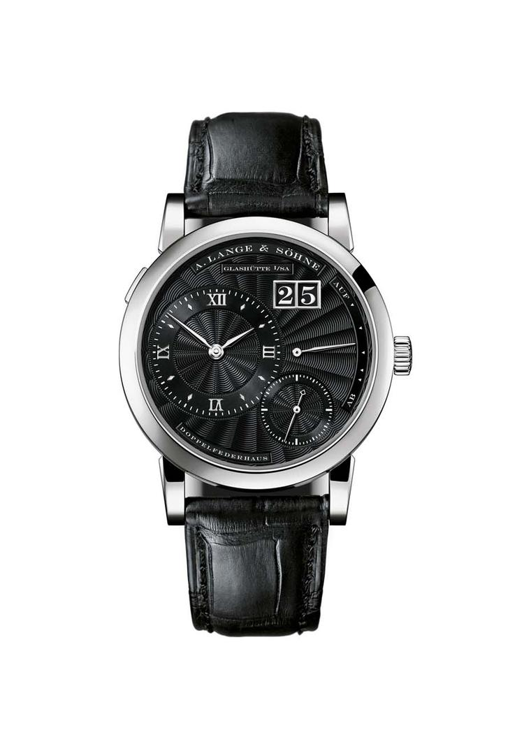 One of the sets features the A.Lange & Söhne's Lange 1 watch with a solid-silver dial, finished in black, with a hand-stitched crocodile leather strap, also in black.