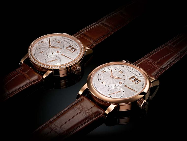 "A.Lange & Söhne's Lange ""20th Annniversary"" limited edition watch set, launching at Watches&Wonders 2014 in Hong Kong, contains the Lange 1 and a Little Lange 1."