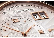 A.Lange & Söhne's Lange 1 watch is characterised by its off-centred hours and minutes counter, smaller seconds counter and, in pride of place, large double date window at 2 o'clock.