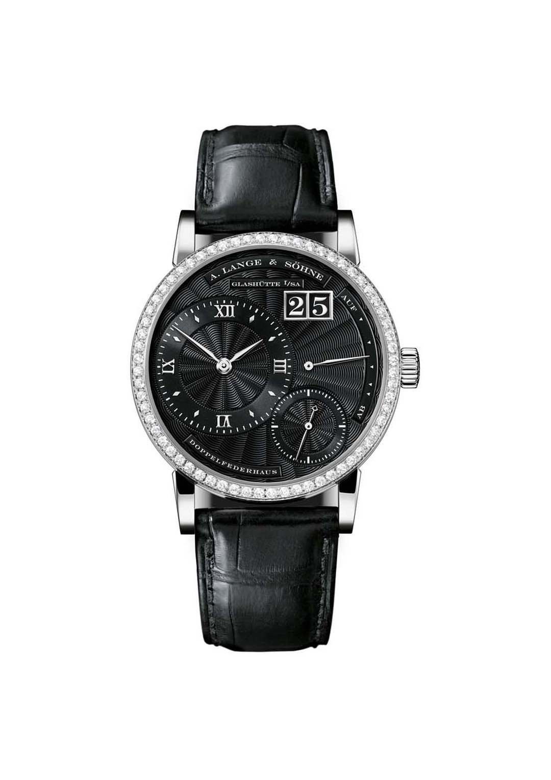 The pair to the A.Lange & Söhne Lange 1 watch in black is the Little Lange 1 watch for women, which measures 36.1mm across and has a diamond-set bezel.
