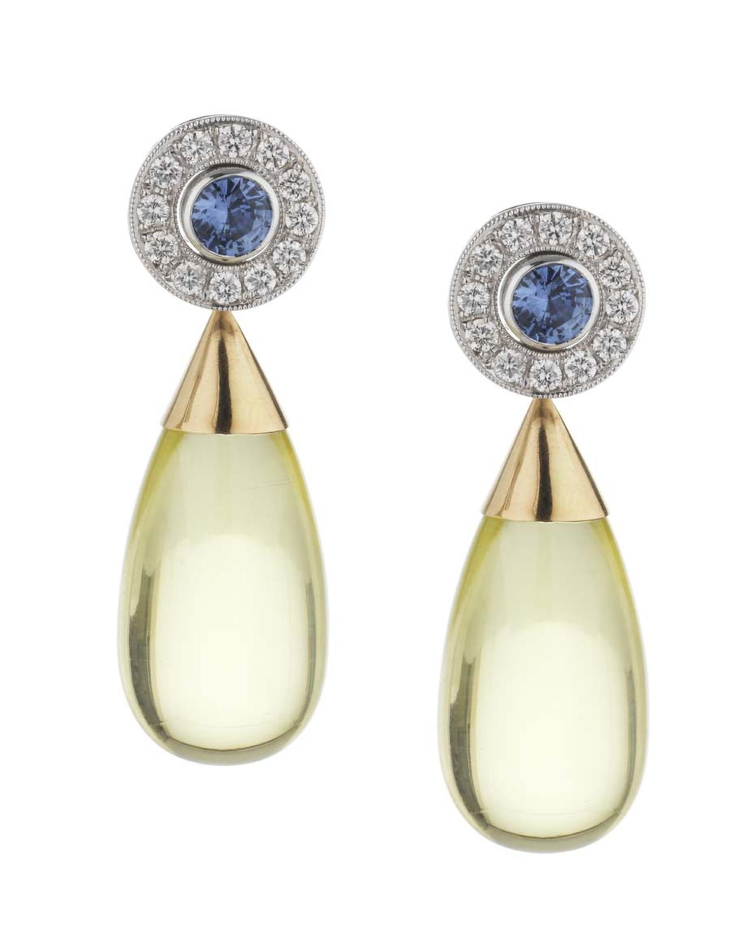 Holts London interchangeable Regent earrings with sapphire stud centres surrounded by diamonds and lemon quartz drops (sapphire and diamond studs £4,495; lemon quartz drops £650).