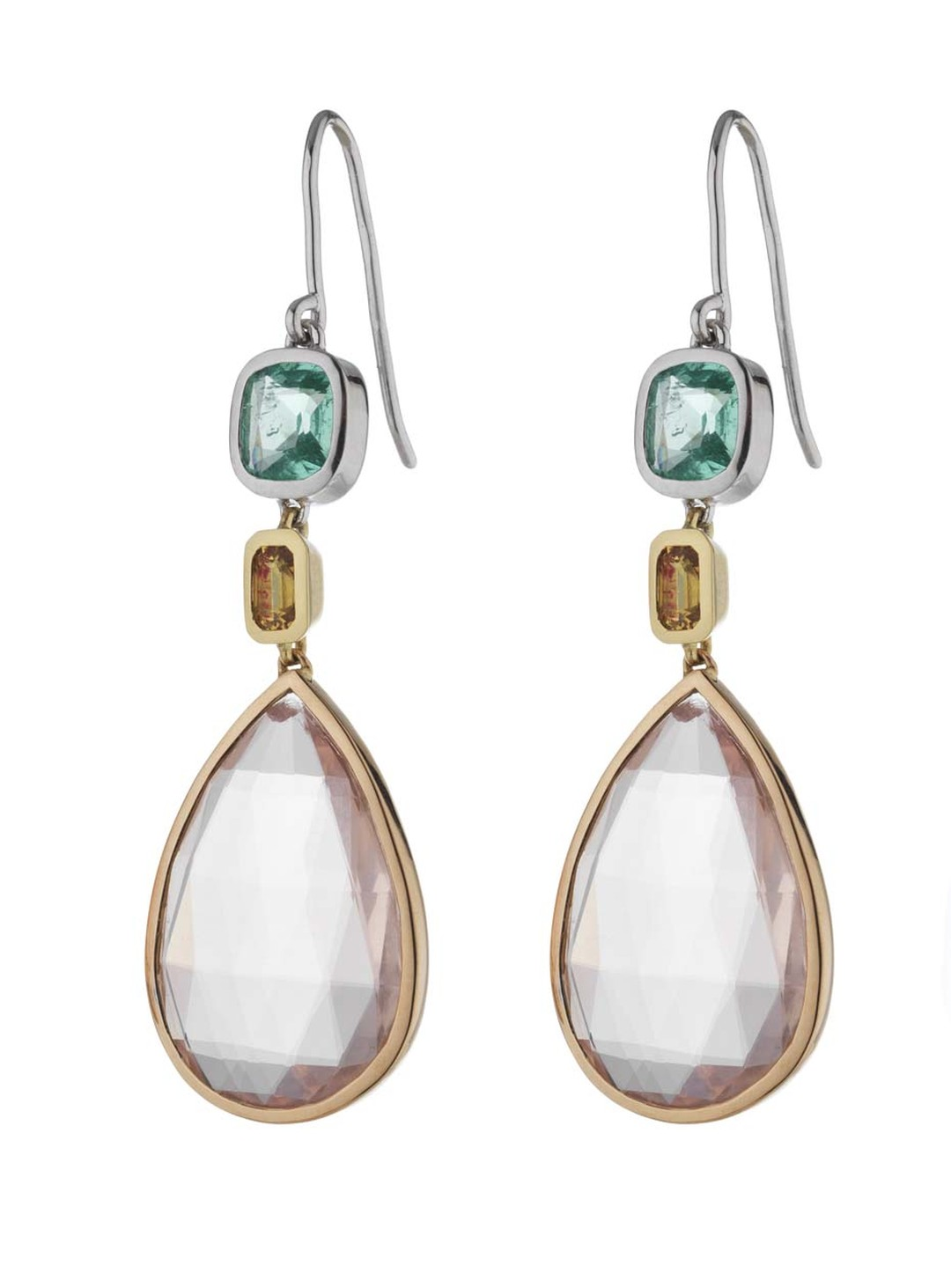Holts London jewellery collection Sloane earrings with rose quartz drops set in mixed metal with a cushion-cut emerald and yellow sapphires (£3,400).