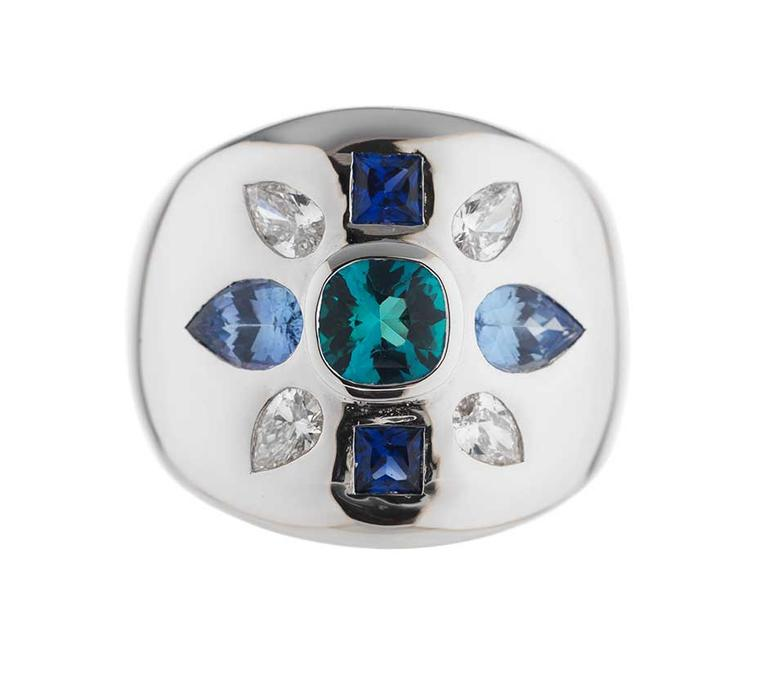 Holts London jewellery collection Empire ring in white gold with a centre tourmaline stone and blue and white sapphires (£4,095).
