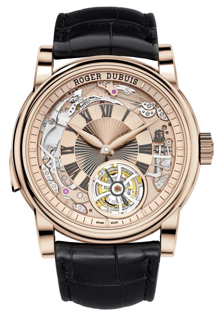 Roger Dubuis' new Hommage Minute Repeater Tourbillon Automatic watch features a rose gold, semi-skeletonised dial that reveals the heart and soul of the complex mechanics required to chime time and keep a tourbillon spinning.